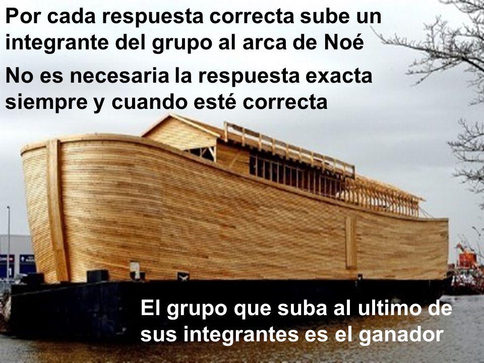 Por cada respuesta correcta sube un integrante del grupo al arca de Noé El grupo que suba al ultimo de sus integrantes es el ganador No es necesaria l
