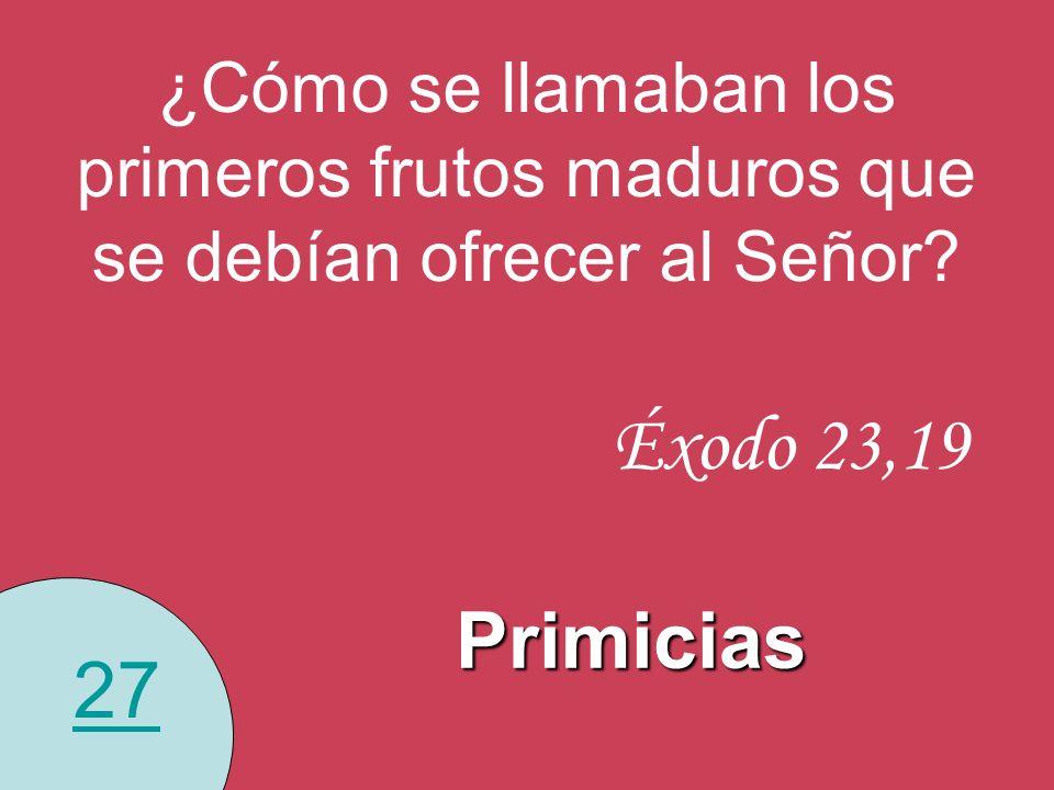 27 ¿Cómo se llamaban los primeros frutos maduros que se debían ofrecer al Señor? Primicias Éxodo 23,19