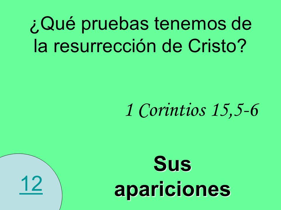 12 ¿Qué pruebas tenemos de la resurrección de Cristo? 1 Corintios 15,5-6 Sus apariciones