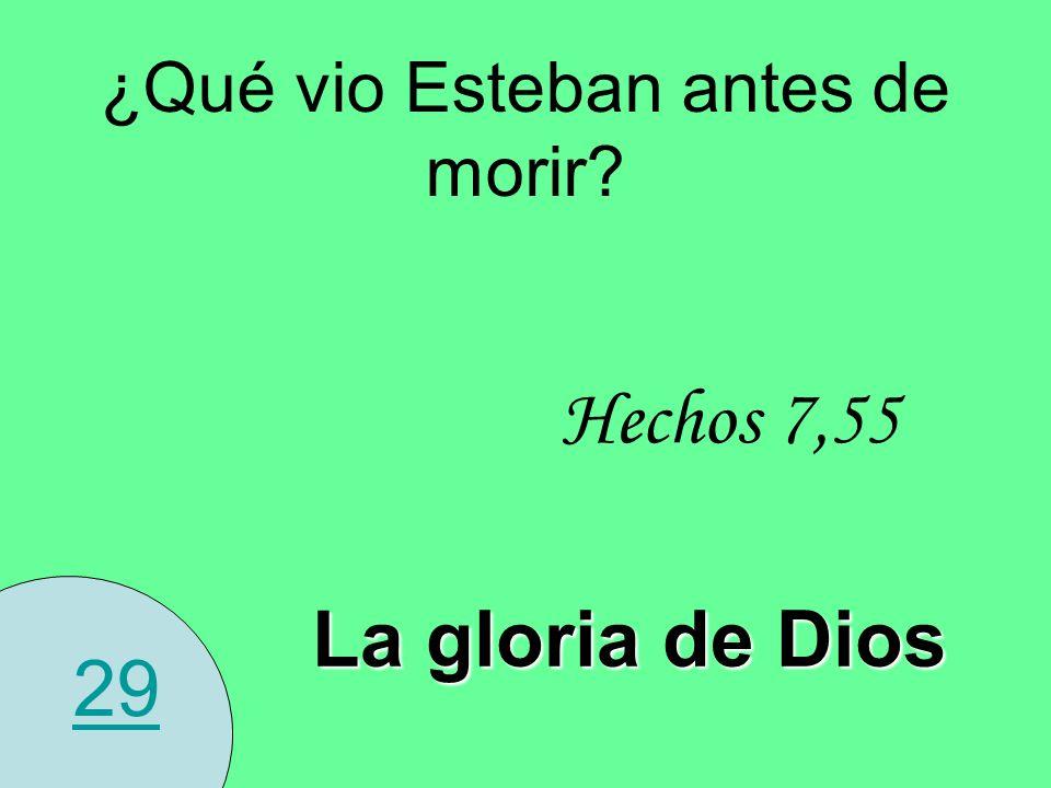 29 ¿Qué vio Esteban antes de morir? La gloria de Dios Hechos 7,55