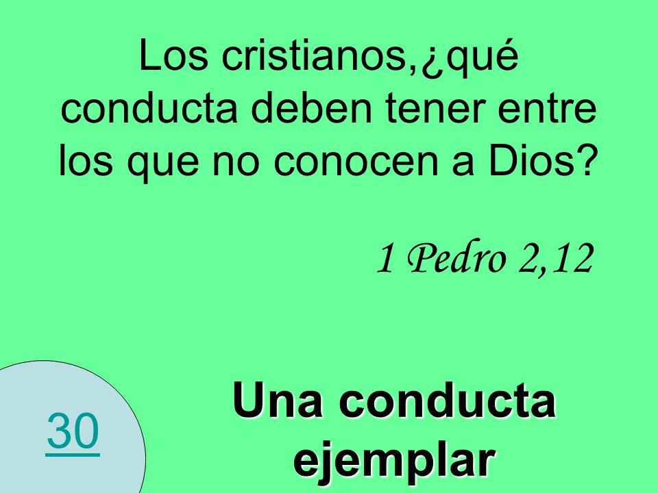 30 Los cristianos,¿qué conducta deben tener entre los que no conocen a Dios? Una conducta ejemplar 1 Pedro 2,12