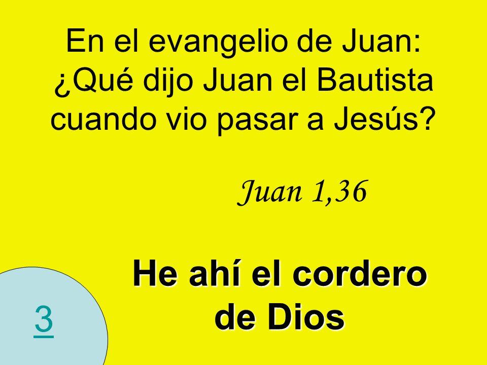 3 En el evangelio de Juan: ¿Qué dijo Juan el Bautista cuando vio pasar a Jesús? Juan 1,36 He ahí el cordero de Dios