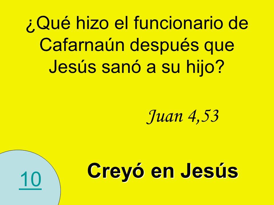 10 ¿Qué hizo el funcionario de Cafarnaún después que Jesús sanó a su hijo? Juan 4,53 Creyó en Jesús