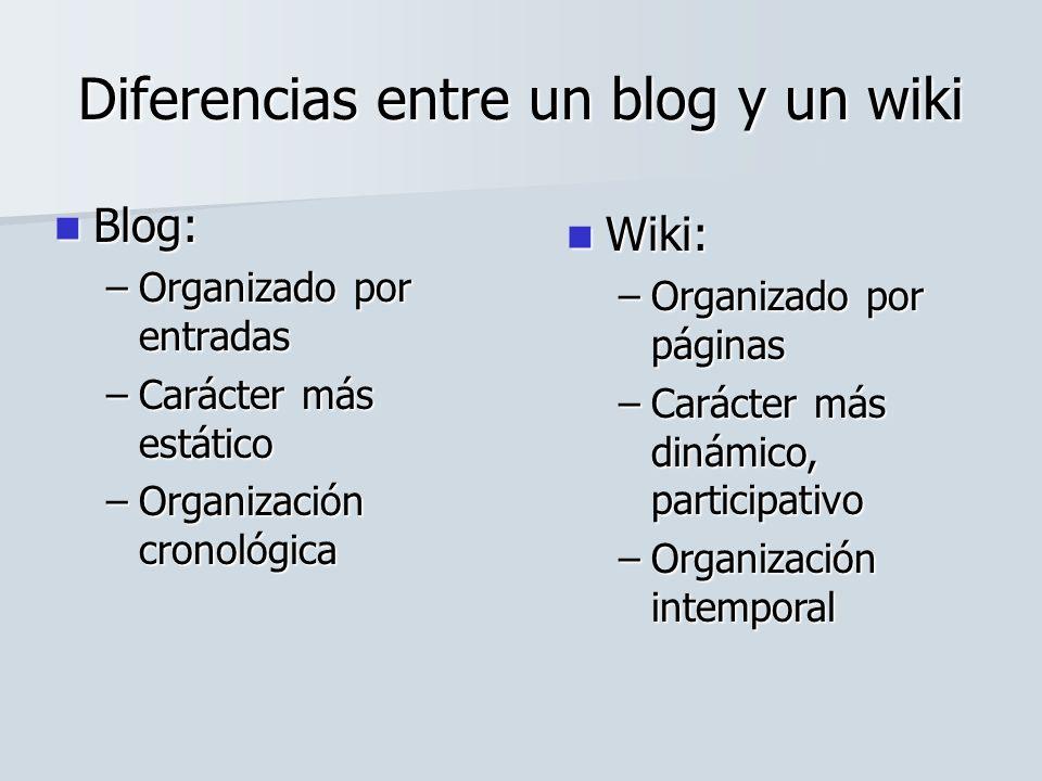 Diferencias entre un blog y un wiki Blog: Blog: –Organizado por entradas –Carácter más estático –Organización cronológica Wiki: Wiki: –Organizado por