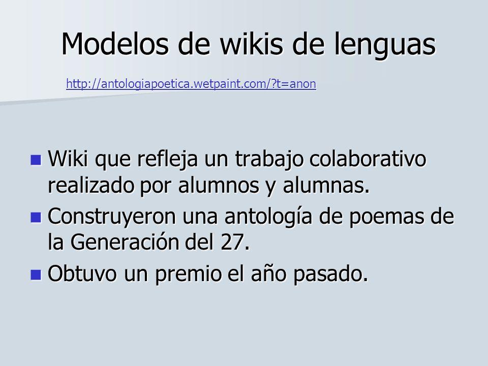 Wiki que refleja un trabajo colaborativo realizado por alumnos y alumnas. Wiki que refleja un trabajo colaborativo realizado por alumnos y alumnas. Co