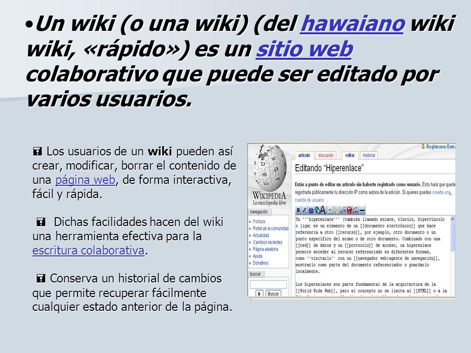 Los usuarios de un wiki pueden así crear, modificar, borrar el contenido de una página web, de forma interactiva, fácil y rápida. Dichas facilidades h