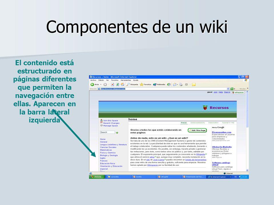 Componentes de un wiki La parte central recoge el contenido de cada una de esas página.