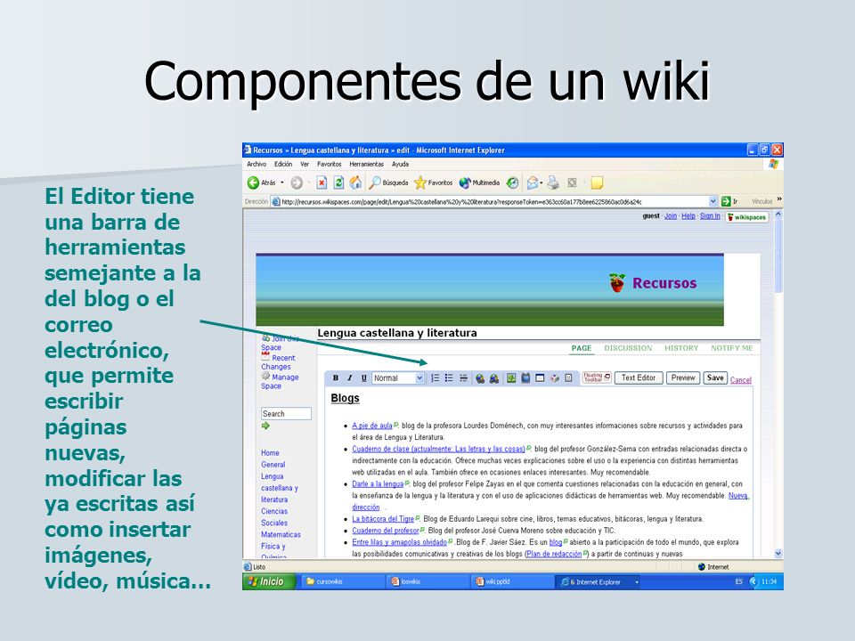Componentes de un wiki El Editor tiene una barra de herramientas semejante a la del blog o el correo electrónico, que permite escribir páginas nuevas,