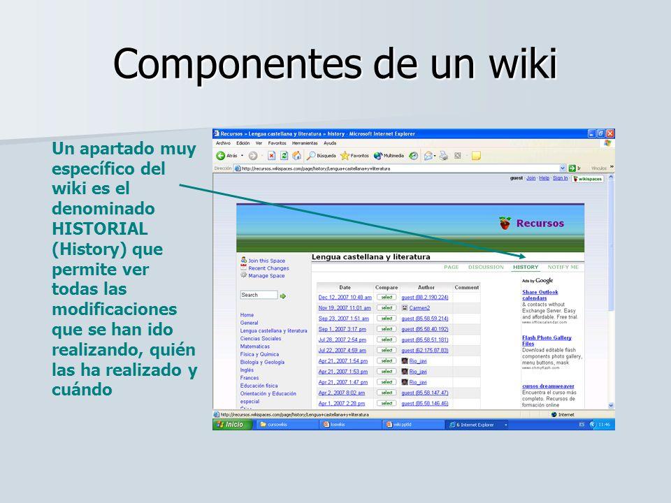 Componentes de un wiki Un apartado muy específico del wiki es el denominado HISTORIAL (History) que permite ver todas las modificaciones que se han id