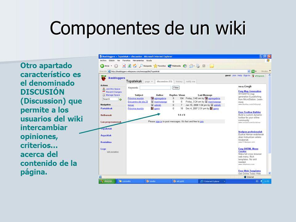 Componentes de un wiki Otro apartado característico es el denominado DISCUSIÓN (Discussion) que permite a los usuarios del wiki intercambiar opiniones