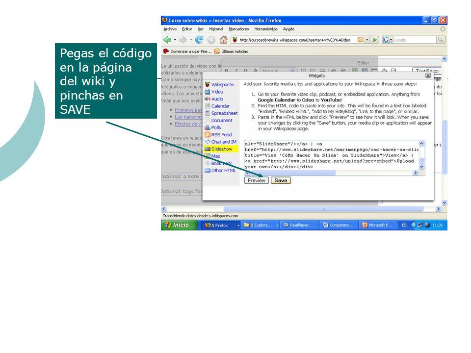 Pegas el código en la página del wiki y pinchas en SAVE