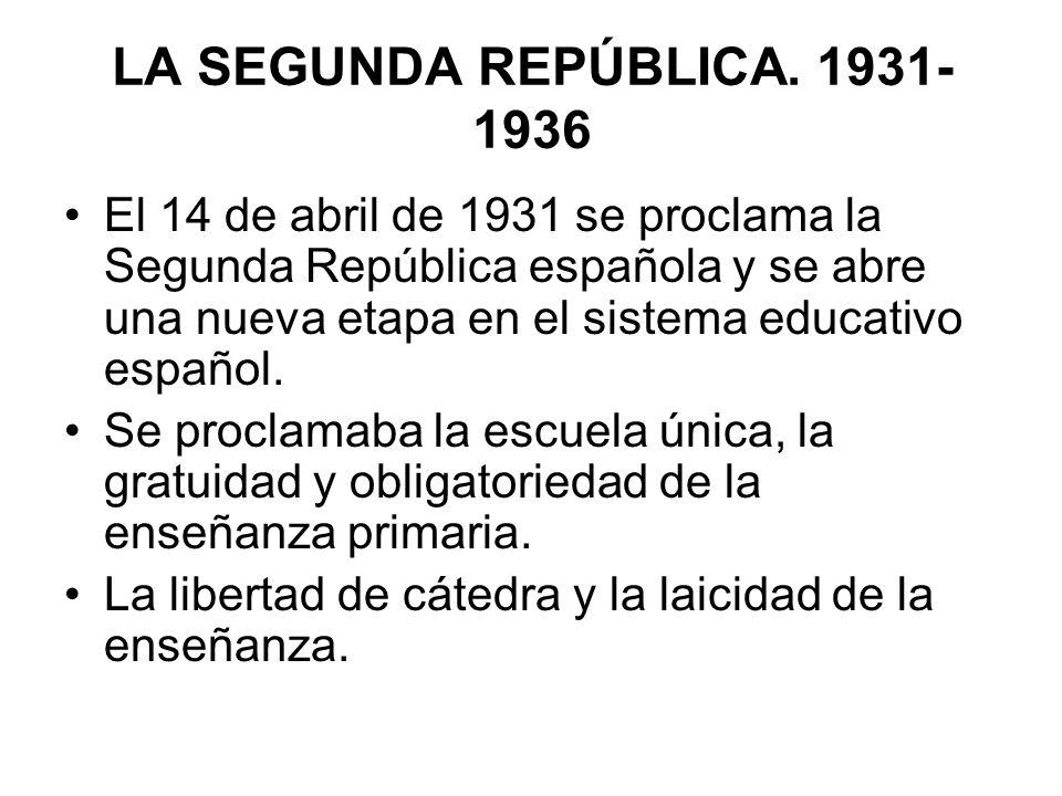 El 14 de abril de 1931 se proclama la Segunda República española y se abre una nueva etapa en el sistema educativo español. Se proclamaba la escuela ú