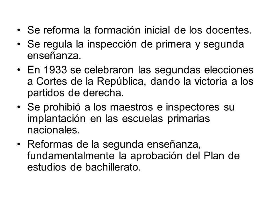 Se reforma la formación inicial de los docentes. Se regula la inspección de primera y segunda enseñanza. En 1933 se celebraron las segundas elecciones