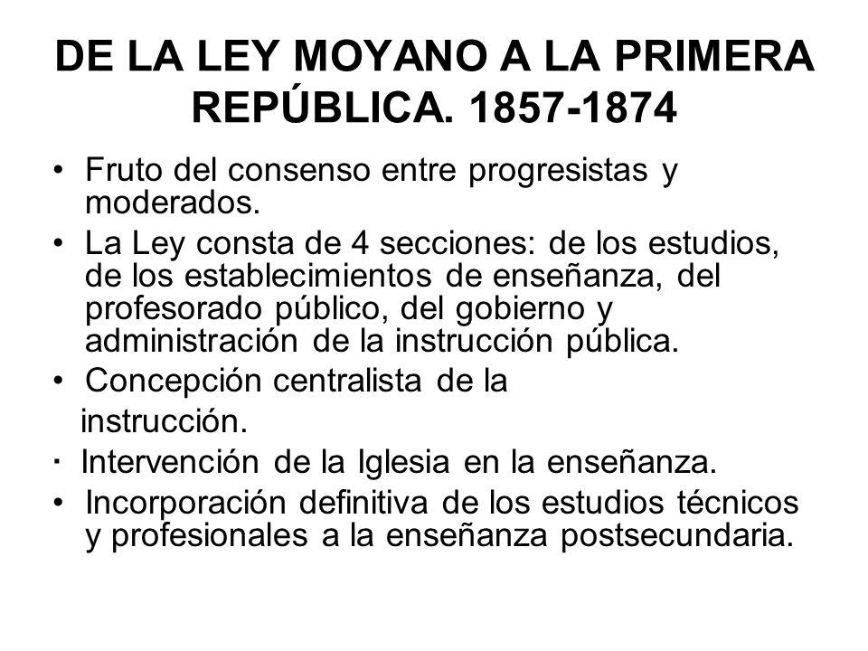 Fruto del consenso entre progresistas y moderados. La Ley consta de 4 secciones: de los estudios, de los establecimientos de enseñanza, del profesorad