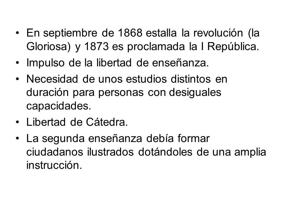 En septiembre de 1868 estalla la revolución (la Gloriosa) y 1873 es proclamada la I República. Impulso de la libertad de enseñanza. Necesidad de unos
