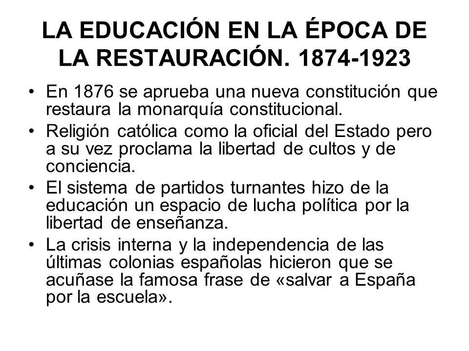 En 1876 se aprueba una nueva constitución que restaura la monarquía constitucional. Religión católica como la oficial del Estado pero a su vez proclam