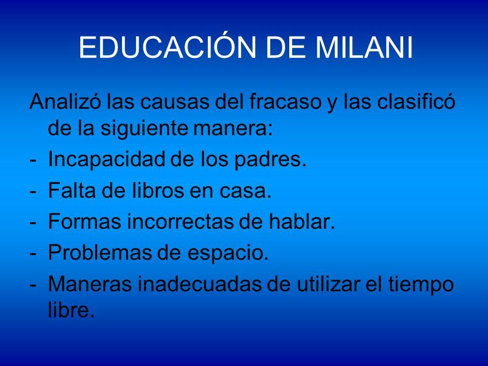 EDUCACIÓN DE MILANI Analizó las causas del fracaso y las clasificó de la siguiente manera: -Incapacidad de los padres. -Falta de libros en casa. -Form