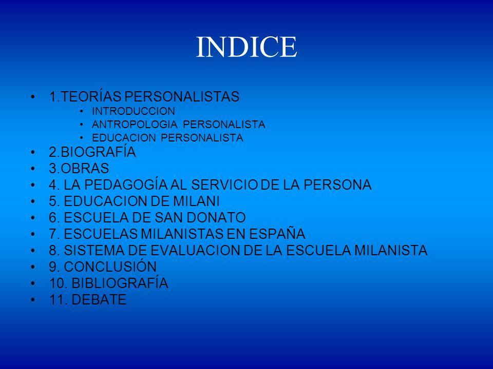 INDICE 1.TEORÍAS PERSONALISTAS INTRODUCCION ANTROPOLOGIA PERSONALISTA EDUCACION PERSONALISTA 2.BIOGRAFÍA 3.OBRAS 4. LA PEDAGOGÍA AL SERVICIO DE LA PER