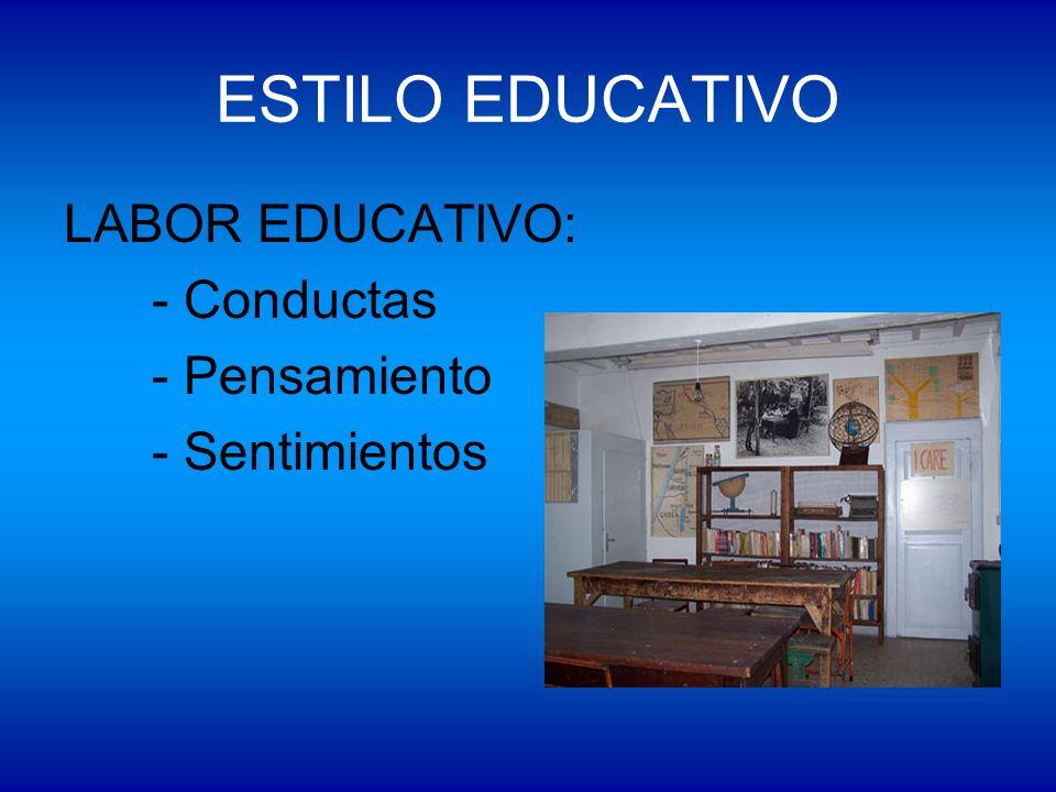 ESTILO EDUCATIVO LABOR EDUCATIVO: - Conductas - Pensamiento - Sentimientos