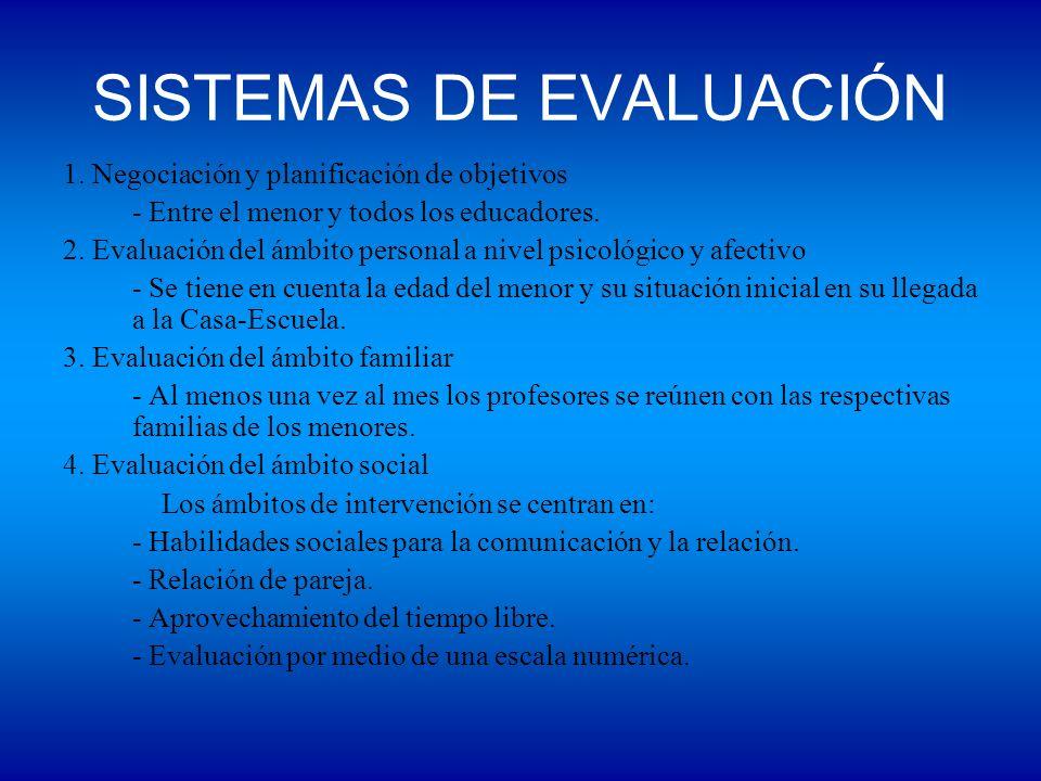 SISTEMAS DE EVALUACIÓN 1. Negociación y planificación de objetivos - Entre el menor y todos los educadores. 2. Evaluación del ámbito personal a nivel