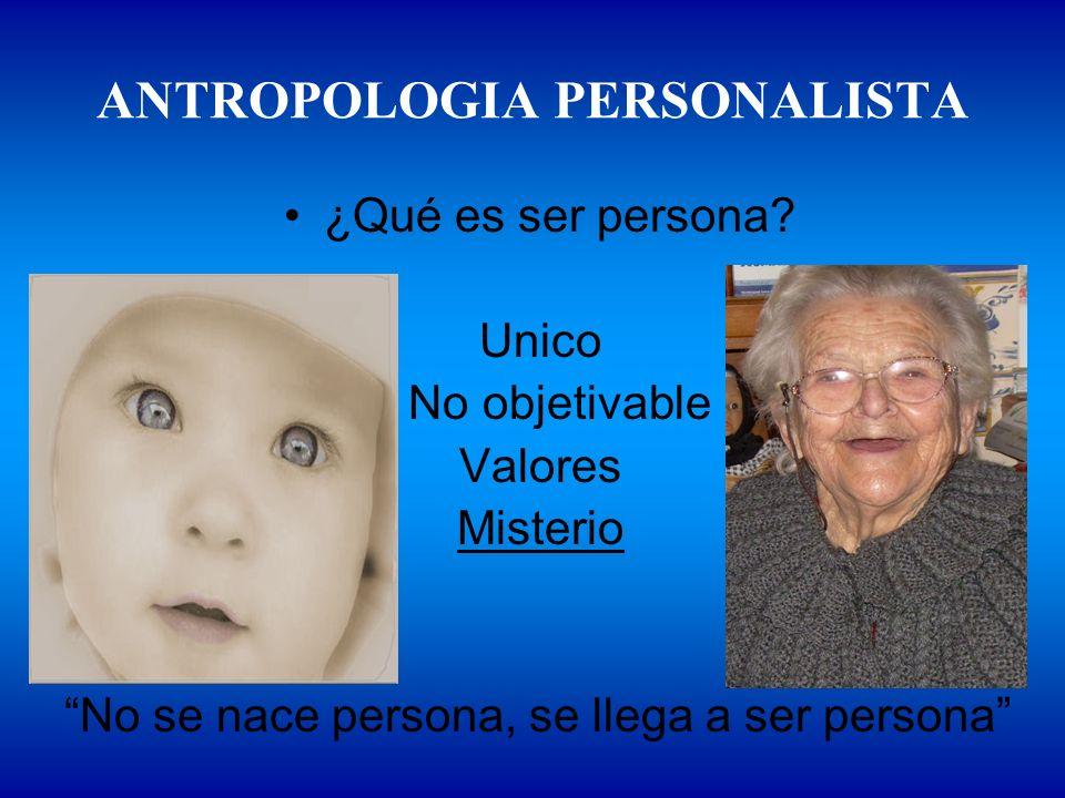 ANTROPOLOGIA PERSONALISTA ¿Qué es ser persona? Unico No objetivable Valores Misterio No se nace persona, se llega a ser persona