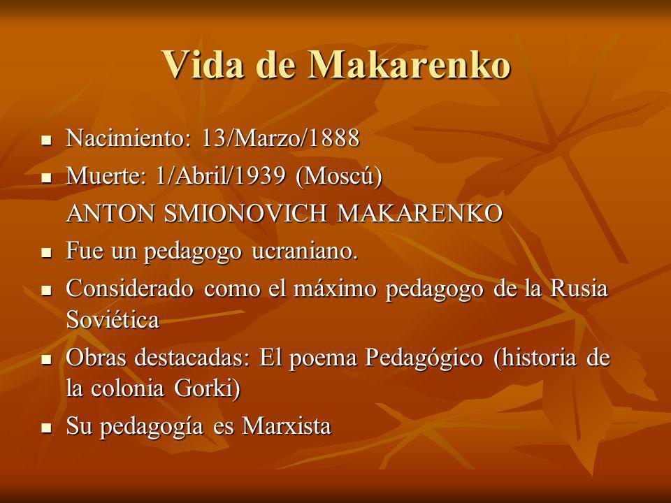 Vida de Makarenko Nacimiento: 13/Marzo/1888 Nacimiento: 13/Marzo/1888 Muerte: 1/Abril/1939 (Moscú) Muerte: 1/Abril/1939 (Moscú) ANTON SMIONOVICH MAKAR