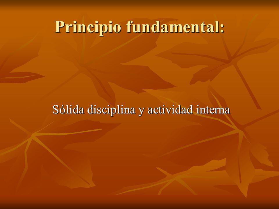 Principio fundamental: Sólida disciplina y actividad interna