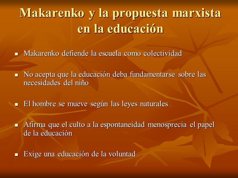 Makarenko y la propuesta marxista en la educación Makarenko defiende la escuela como colectividad Makarenko defiende la escuela como colectividad No a