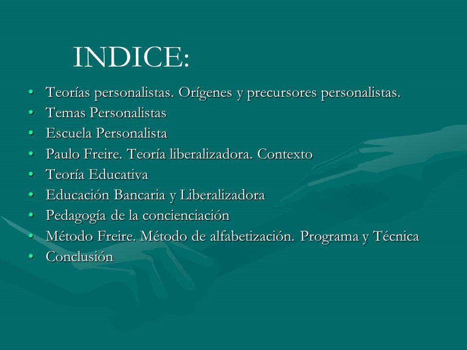 INDICE: Teorías personalistas. Orígenes y precursores personalistas.Teorías personalistas. Orígenes y precursores personalistas. Temas PersonalistasTe