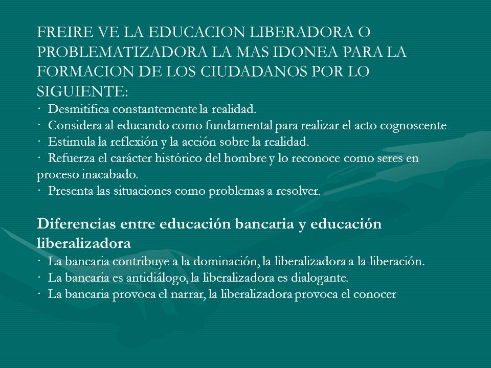 FREIRE VE LA EDUCACION LIBERADORA O PROBLEMATIZADORA LA MAS IDONEA PARA LA FORMACION DE LOS CIUDADANOS POR LO SIGUIENTE: · Desmitifica constantemente