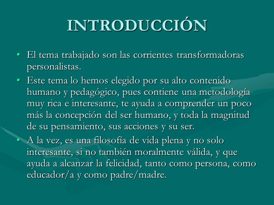 INTRODUCCIÓN El tema trabajado son las corrientes transformadoras personalistas.El tema trabajado son las corrientes transformadoras personalistas. Es