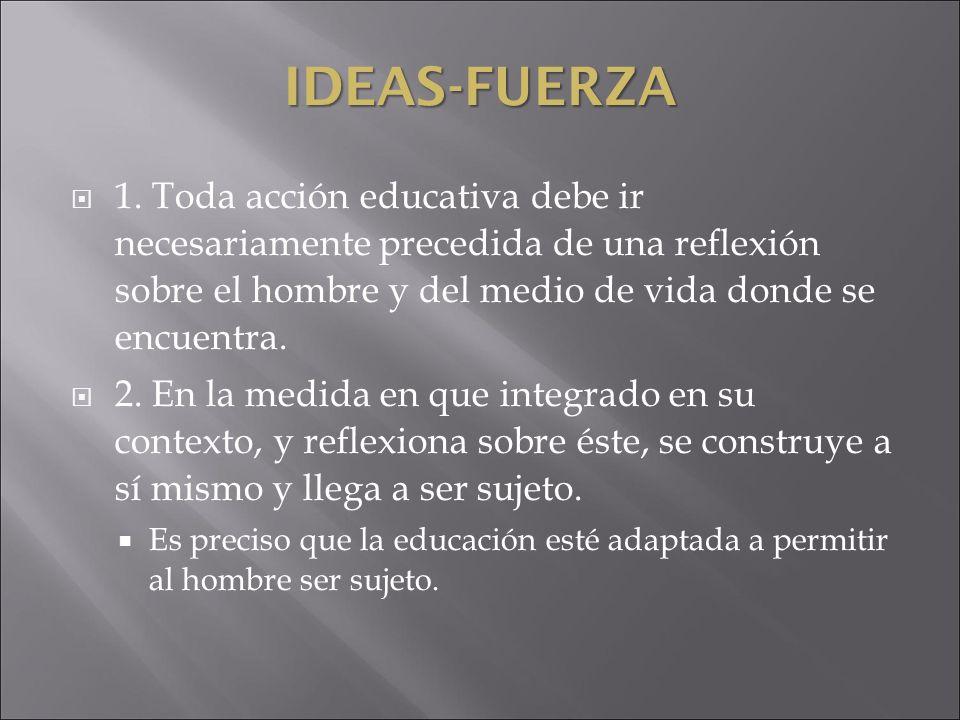 IDEAS-FUERZA 1. Toda acción educativa debe ir necesariamente precedida de una reflexión sobre el hombre y del medio de vida donde se encuentra. 2. En