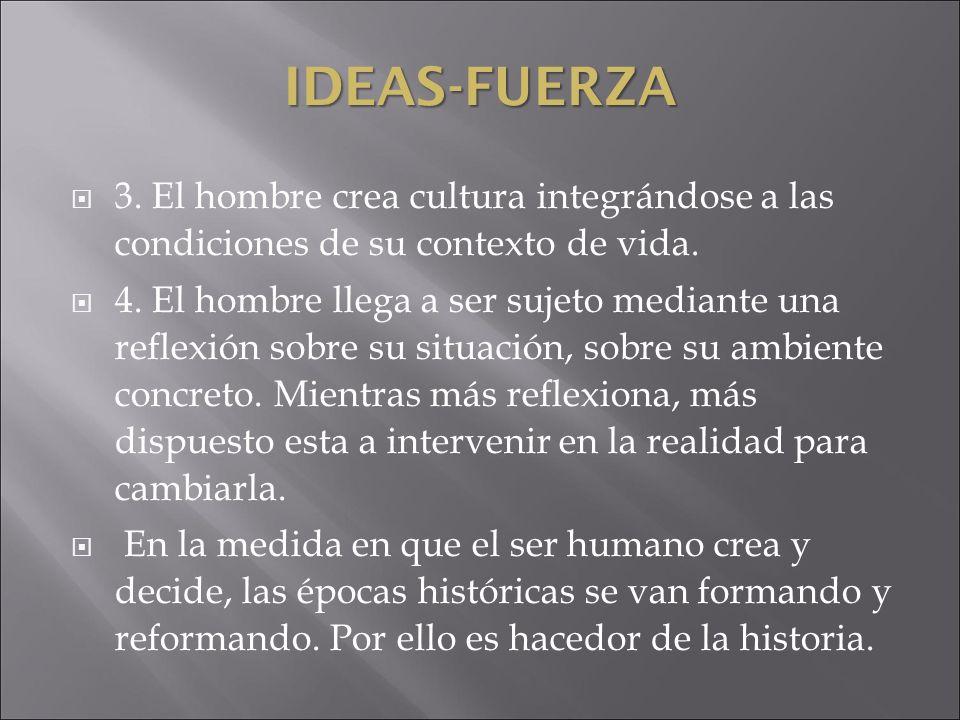IDEAS-FUERZA 3. El hombre crea cultura integrándose a las condiciones de su contexto de vida. 4. El hombre llega a ser sujeto mediante una reflexión s