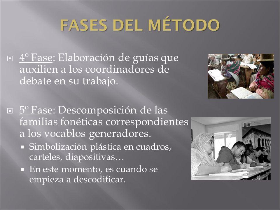FASES DEL MÉTODO 4º Fase: Elaboración de guías que auxilien a los coordinadores de debate en su trabajo. 5º Fase: Descomposición de las familias fonét