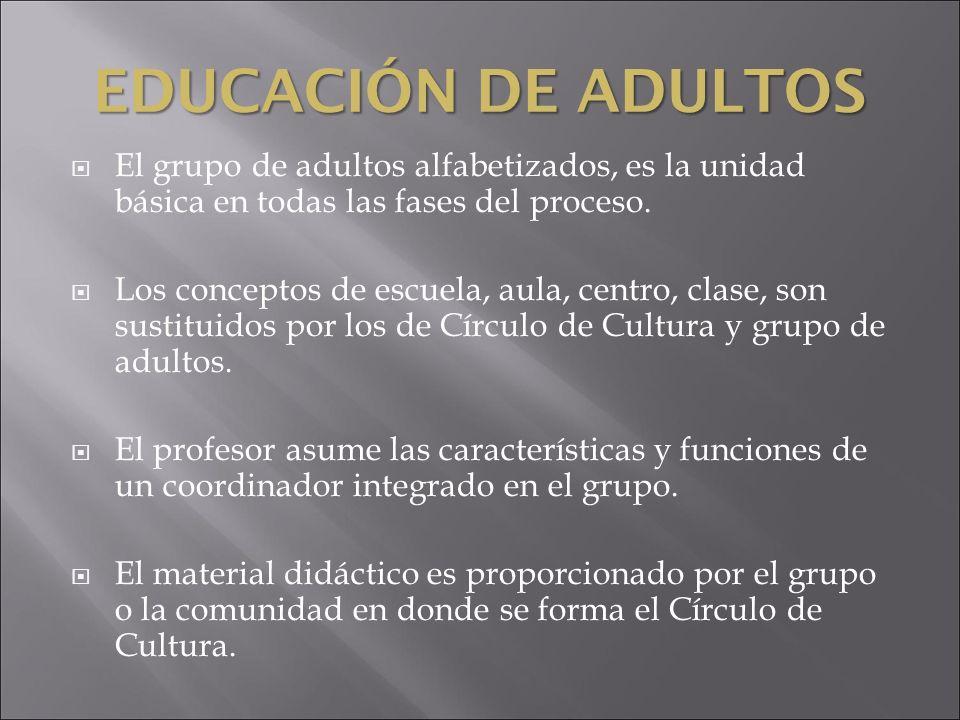 EDUCACIÓN DE ADULTOS El grupo de adultos alfabetizados, es la unidad básica en todas las fases del proceso. Los conceptos de escuela, aula, centro, cl