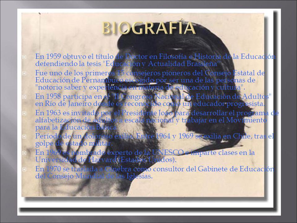 En 1959 obtuvo el título de Doctor en Filosofía e Historia de la Educación defendiendo la tesis