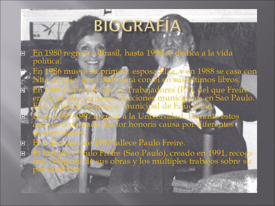 En 1980 regresa a Brasil, hasta 1990 se dedica a la vida política. En 1986 muere su primera esposa Elza, y en 1988 se casa con Nita Araujo, que colabo