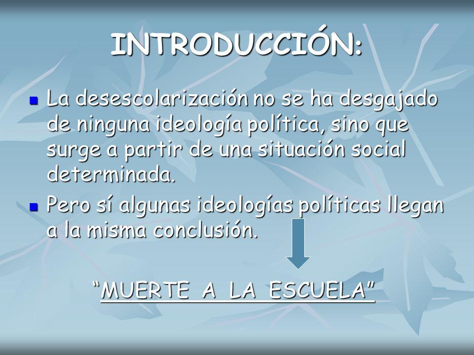 INTRODUCCIÓN La desescolarización: ¿legal o ilegal.