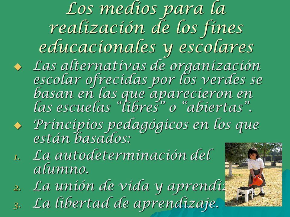 Los medios para la realización de los fines educacionales y escolares Las alternativas de organización escolar ofrecidas por los verdes se basan en la