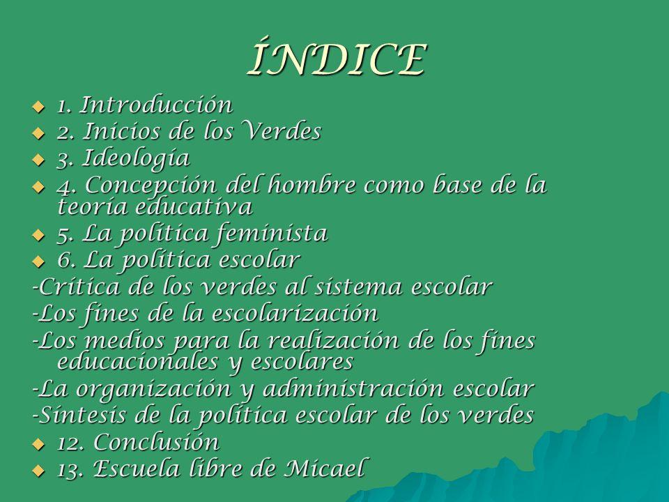 ÍNDICE 1. Introducción 1. Introducción 2. Inicios de los Verdes 2. Inicios de los Verdes 3. Ideología 3. Ideología 4. Concepción del hombre como base
