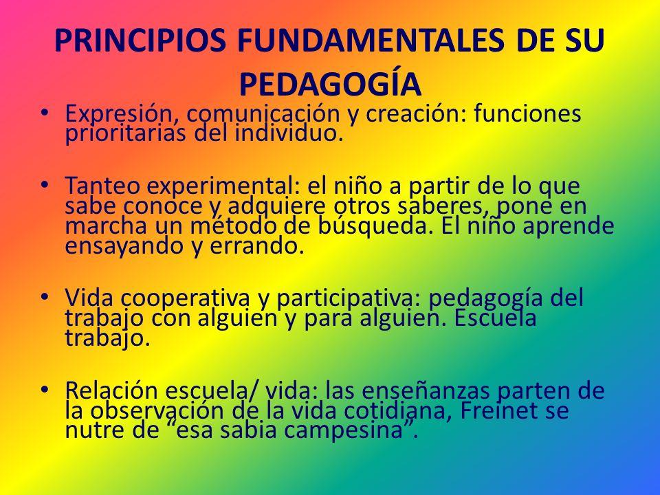 PRINCIPIOS FUNDAMENTALES DE SU PEDAGOGÍA Expresión, comunicación y creación: funciones prioritarias del individuo. Tanteo experimental: el niño a part
