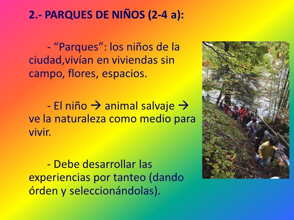 2.- PARQUES DE NIÑOS (2-4 a): - Parques: los niños de la ciudad,vivían en viviendas sin campo, flores, espacios. - El niño animal salvaje ve la natura