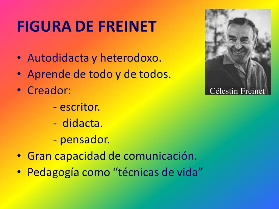 FIGURA DE FREINET Autodidacta y heterodoxo. Aprende de todo y de todos. Creador: - escritor. - didacta. - pensador. Gran capacidad de comunicación. Pe