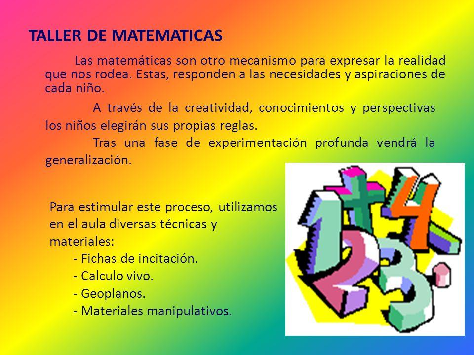 TALLER DE MATEMATICAS Las matemáticas son otro mecanismo para expresar la realidad que nos rodea. Estas, responden a las necesidades y aspiraciones de
