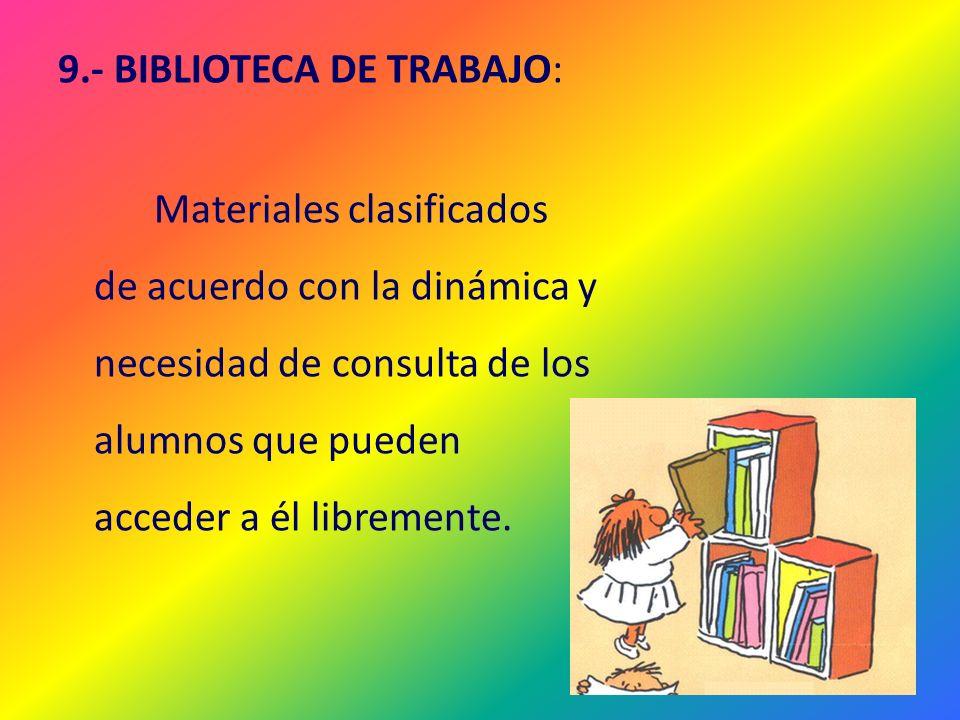 9.- BIBLIOTECA DE TRABAJO: Materiales clasificados de acuerdo con la dinámica y necesidad de consulta de los alumnos que pueden acceder a él librement