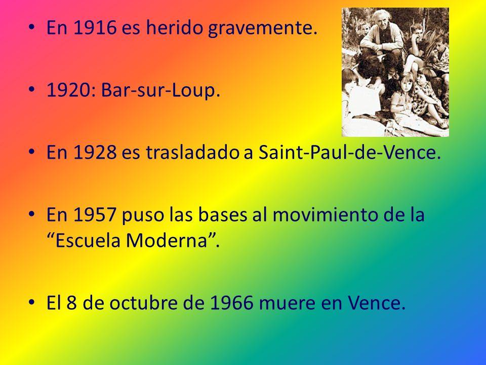 En 1916 es herido gravemente. 1920: Bar-sur-Loup. En 1928 es trasladado a Saint-Paul-de-Vence. En 1957 puso las bases al movimiento de la Escuela Mode
