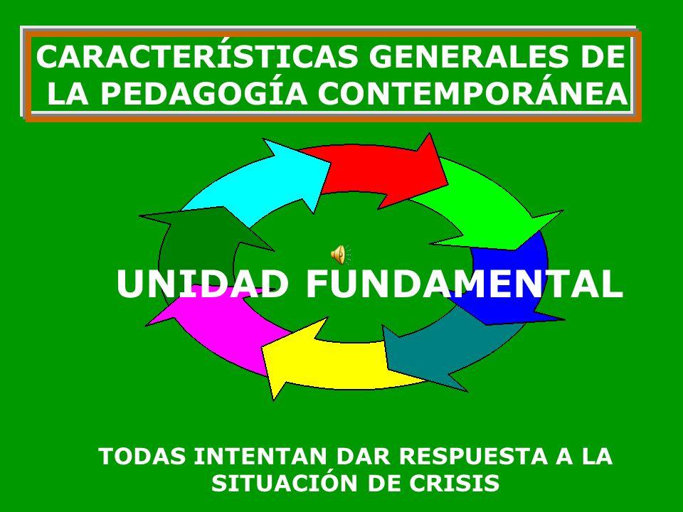 CARACTERÍSTICAS GENERALES DE LA PEDAGOGÍA CONTEMPORÁNEA COMPEJIDAD CRISIS HISTÓRICA