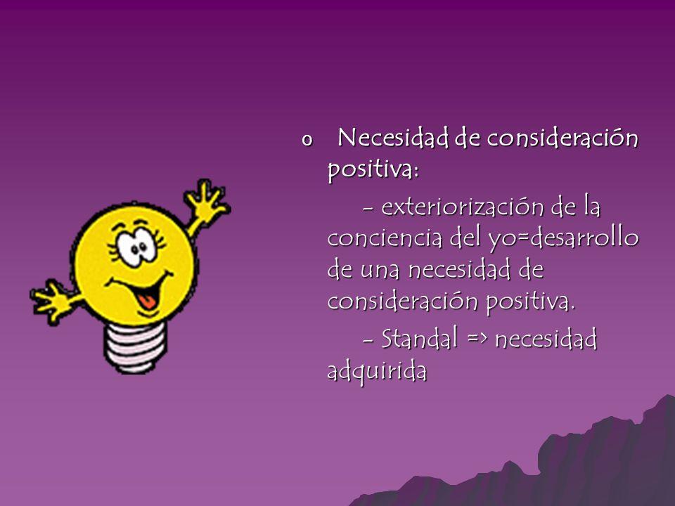 o Necesidad de consideración positiva: - exteriorización de la conciencia del yo=desarrollo de una necesidad de consideración positiva. - exteriorizac