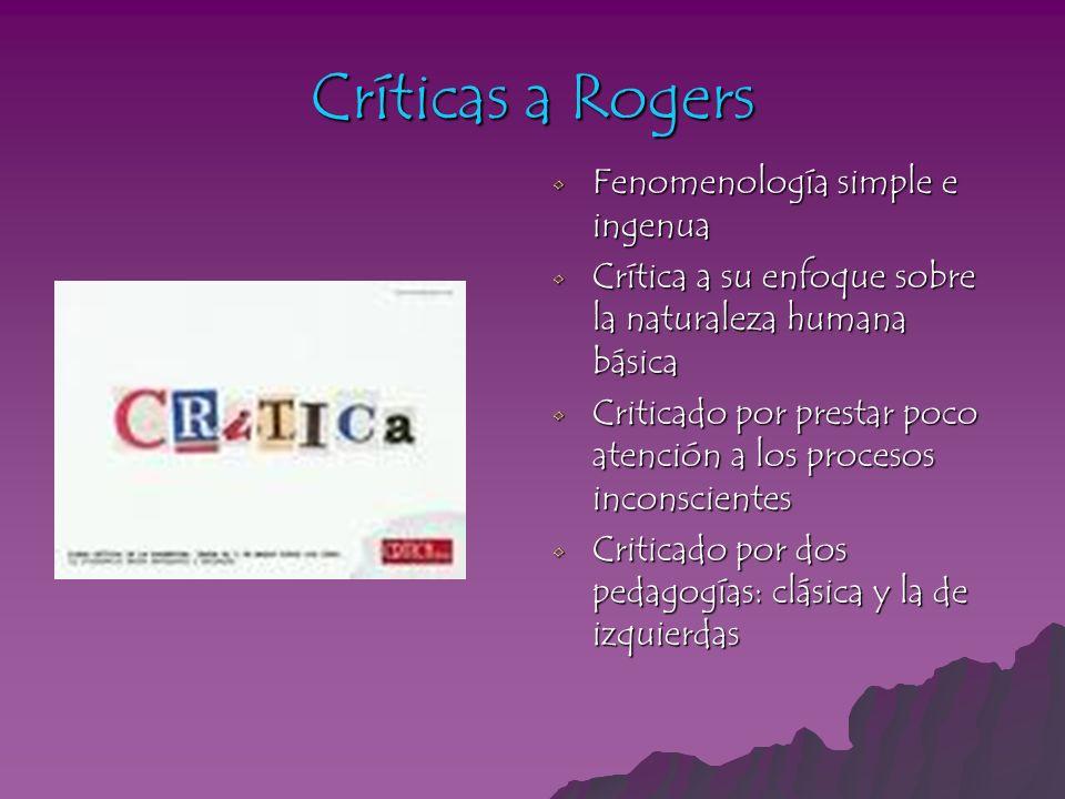Críticas a Rogers Fenomenología simple e ingenua Fenomenología simple e ingenua Crítica a su enfoque sobre la naturaleza humana básica Crítica a su en