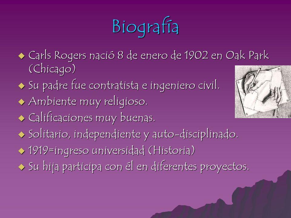 Biografía Carls Rogers nació 8 de enero de 1902 en Oak Park (Chicago) Carls Rogers nació 8 de enero de 1902 en Oak Park (Chicago) Su padre fue contrat